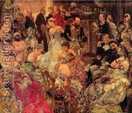 The dance hall, Detail by Adolph von Menzel - Reproduction Oil Painting