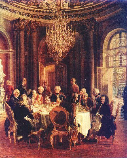 Voltaire in the court of Frederick II of Prussia by Adolph von Menzel - Reproduction Oil Painting
