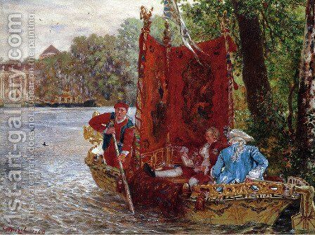 Water transport in Rheinsberg by Adolph von Menzel - Reproduction Oil Painting