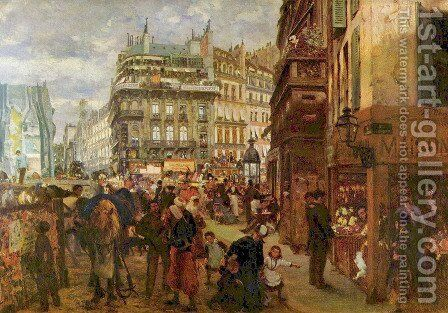 Weekday in Paris by Adolph von Menzel - Reproduction Oil Painting