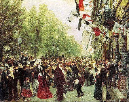 William I Departs for the Front, July 31, 1870 by Adolph von Menzel - Reproduction Oil Painting