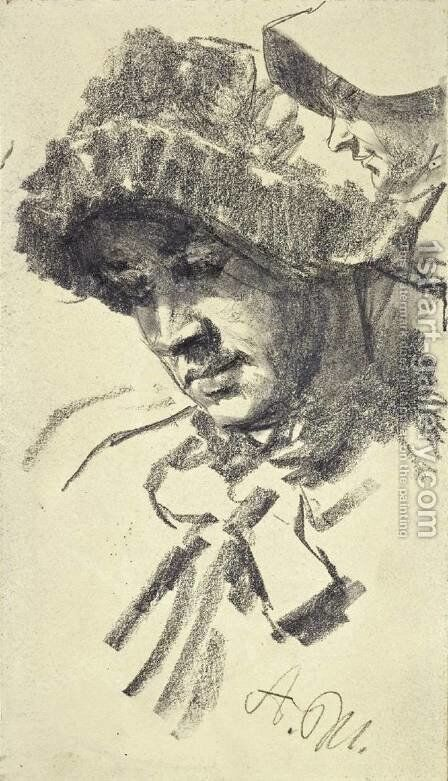 Women with a hat by Adolph von Menzel - Reproduction Oil Painting