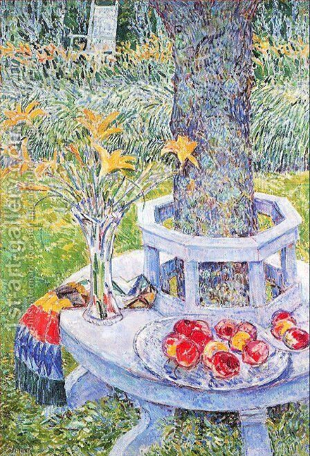 Flowers and fruit under the tree by Childe Hassam - Reproduction Oil Painting