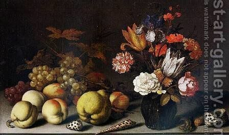 A Still-Life of Fruit, Flowers and Shells with a Lizard, Caterpillar and Dragonfly by Balthasar Van Der Ast - Reproduction Oil Painting
