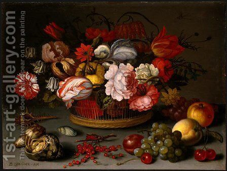 Basket of Flowers by Balthasar Van Der Ast - Reproduction Oil Painting