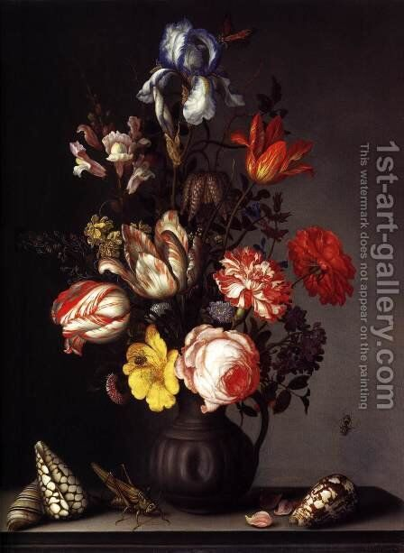Flowers in a Vase with Shells and Insects by Balthasar Van Der Ast - Reproduction Oil Painting