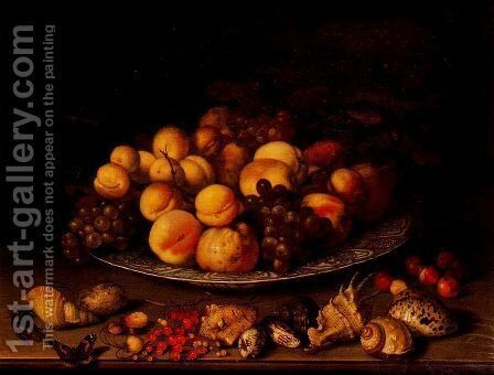 Fruit in a dish and shells by Balthasar Van Der Ast - Reproduction Oil Painting