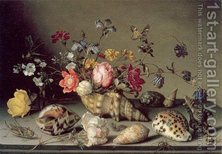 Still Life with Flowers, Shells and Insects by Balthasar Van Der Ast - Reproduction Oil Painting