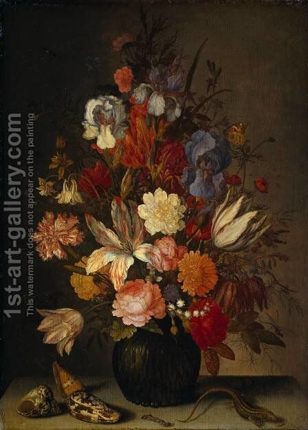 Still Life with Flowers 2 by Balthasar Van Der Ast - Reproduction Oil Painting