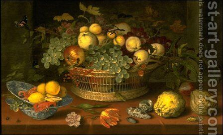 Still Life with a Basket of Fruit by Balthasar Van Der Ast - Reproduction Oil Painting
