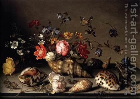 Still-Life of Flowers, Shells, and Insects by Balthasar Van Der Ast - Reproduction Oil Painting