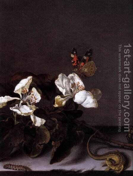 Still-Life with Apple Blossoms (detail) by Balthasar Van Der Ast - Reproduction Oil Painting