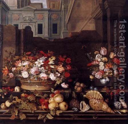 Still-Life with Flowers, Fruit, and Shells by Balthasar Van Der Ast - Reproduction Oil Painting
