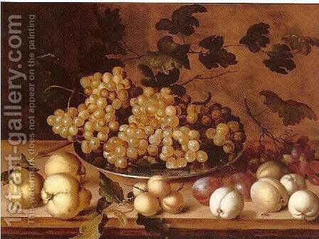 Still-life, Peaches, plums, pears and grapes by Balthasar Van Der Ast - Reproduction Oil Painting