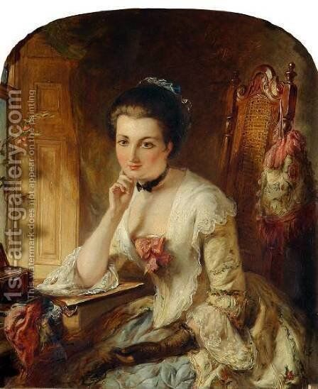 Portrait, Lady with letter by Abraham Solomon - Reproduction Oil Painting