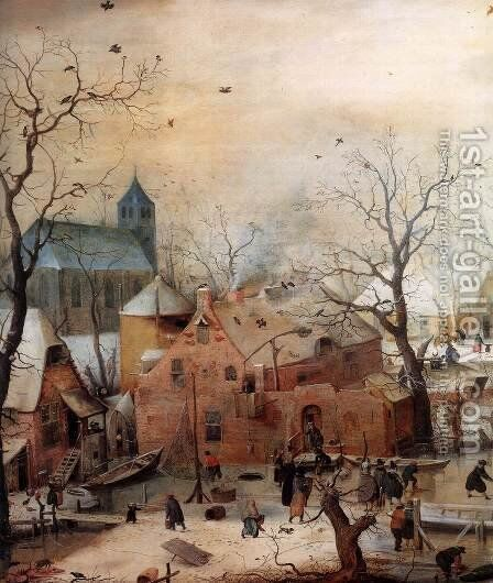 Winter Landscape with Skaters   (detail) by Hendrick Avercamp - Reproduction Oil Painting