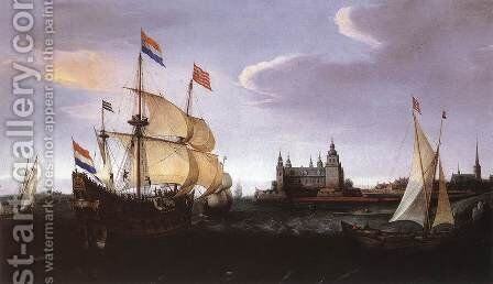 Arrival of a Dutch Three-master at Schloss Kronberg by Cornelis Hendricksz. The Younger Vroom - Reproduction Oil Painting