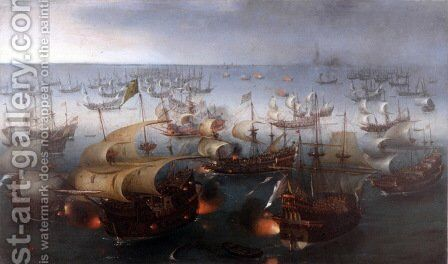 Battle between England and Spain 1588 by Cornelis Hendricksz. The Younger Vroom - Reproduction Oil Painting