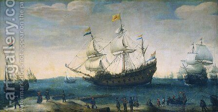 Het uitzeilen van een aantal Oost-Indiëvaarders uit het Marsdiep. In het midden het schip 'Mauritius' 2 by Cornelis Hendricksz. The Younger Vroom - Reproduction Oil Painting