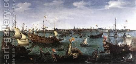 The Arrival at Vlissingen of the Elector Palatinate Frederic V by Cornelis Hendricksz. The Younger Vroom - Reproduction Oil Painting