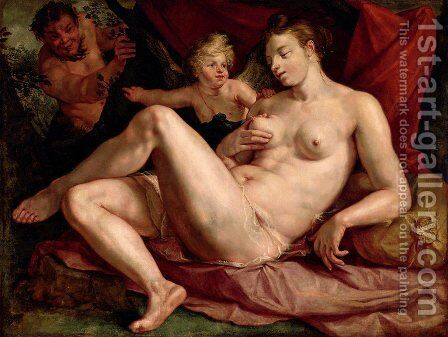 Jupiter and Antiope by Hendrick Goltzius - Reproduction Oil Painting