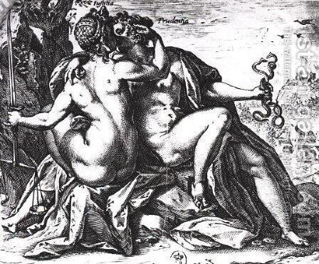 Justice and Prudence kiss each other by Hendrick Goltzius - Reproduction Oil Painting