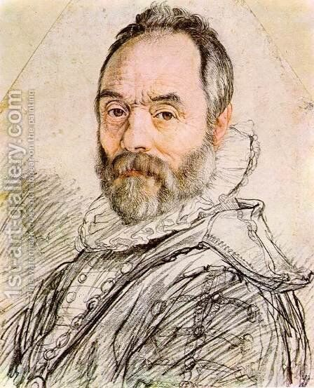 Portrait of Sculptor Giambologna by Hendrick Goltzius - Reproduction Oil Painting