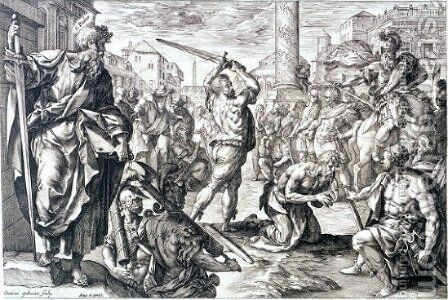 Saint Paul's martyrdom by Hendrick Goltzius - Reproduction Oil Painting