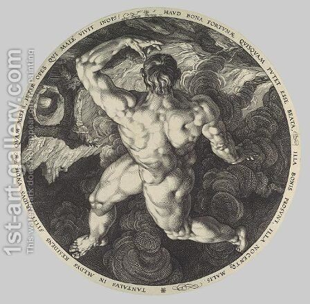 Tantalus, Icarus, Phaeton, and Ixion, From the series The Four Disgracers by Hendrick Goltzius - Reproduction Oil Painting