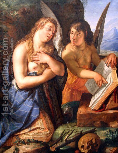 The Penitent Magdalene and an Angel by Hendrick Goltzius - Reproduction Oil Painting