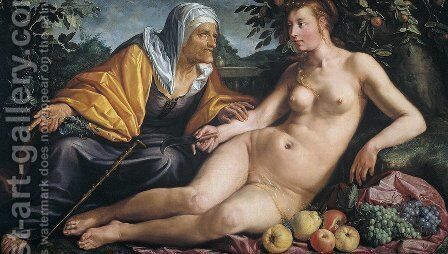 Vertumnus and Pomona by Hendrick Goltzius - Reproduction Oil Painting