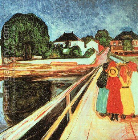 At the bridge by Edvard Munch - Reproduction Oil Painting