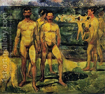 Bathing Men. by Edvard Munch - Reproduction Oil Painting