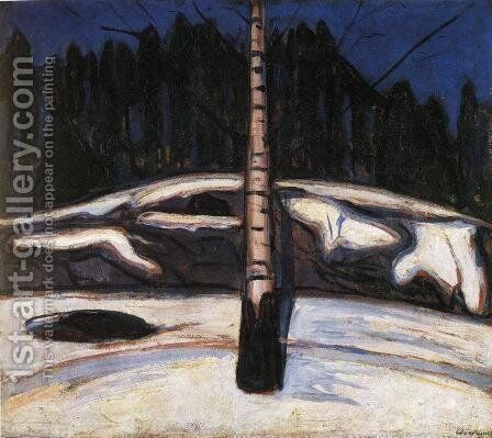 Birch in the Snow by Edvard Munch - Reproduction Oil Painting