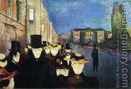 Evening on Karl Johan Street by Edvard Munch - Reproduction Oil Painting