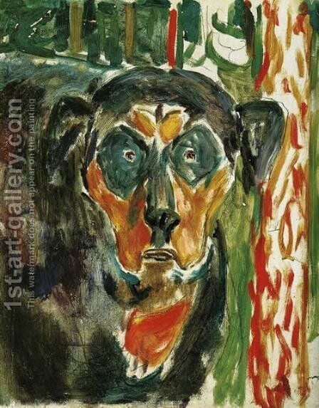 Head of a Dog by Edvard Munch - Reproduction Oil Painting