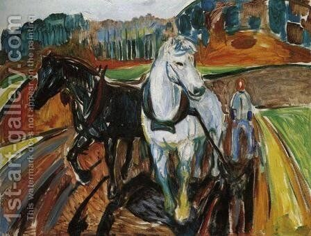 Horse Team by Edvard Munch - Reproduction Oil Painting