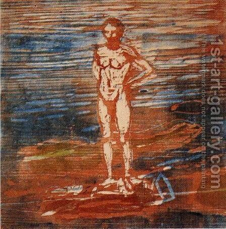 Man Bathing by Edvard Munch - Reproduction Oil Painting