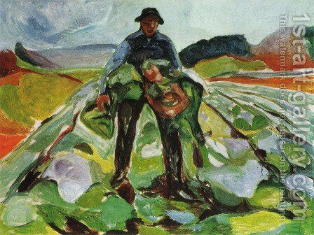 Man in a field of cabbages 1916 by Edvard Munch - Reproduction Oil Painting