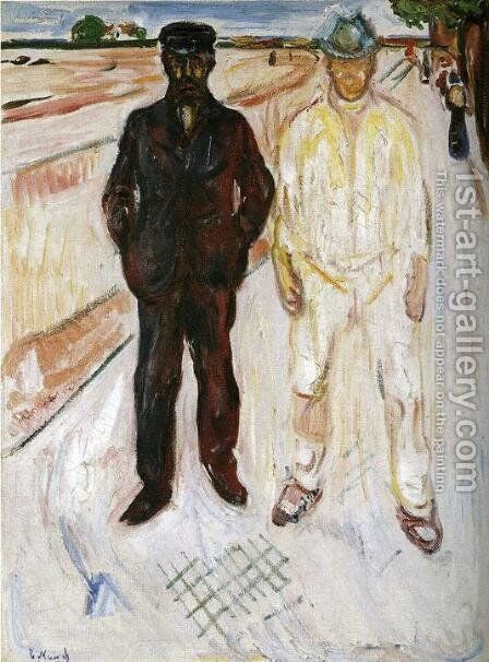 Mason and Mechanic by Edvard Munch - Reproduction Oil Painting