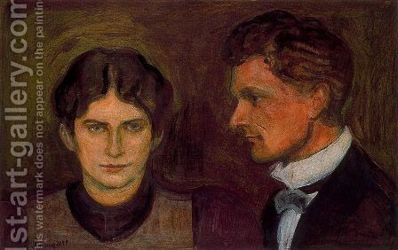 Portrait of Aase and Harald Norregaard by Edvard Munch - Reproduction Oil Painting
