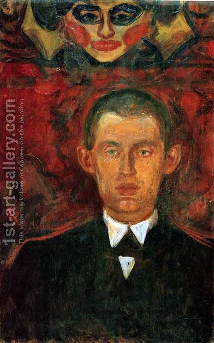 Self-Portrait Beneath Woman's Mask by Edvard Munch - Reproduction Oil Painting
