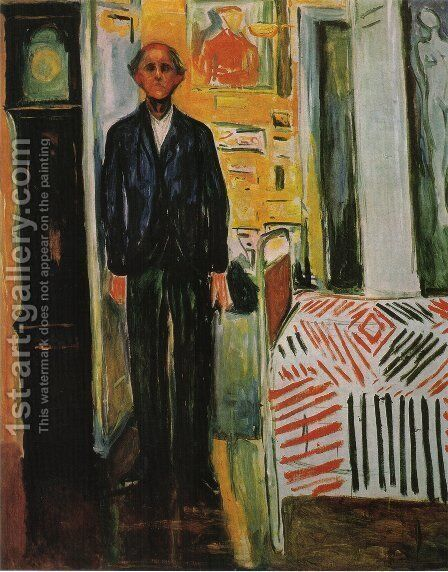 Self-Portrait, Between Clock and Bed by Edvard Munch - Reproduction Oil Painting