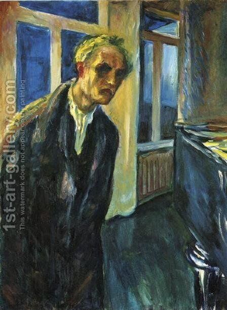 Self-Portrait. The Night Wanderer by Edvard Munch - Reproduction Oil Painting