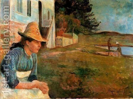 Sunset. Laura, the sister of artist by Edvard Munch - Reproduction Oil Painting