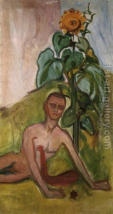 The Flower of Pain, Sunflower Motif by Edvard Munch - Reproduction Oil Painting