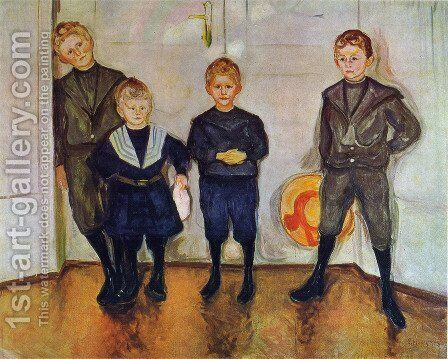 The Four Sons of Dr. Linde by Edvard Munch - Reproduction Oil Painting