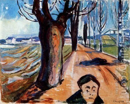 The Murderer in the Lane by Edvard Munch - Reproduction Oil Painting