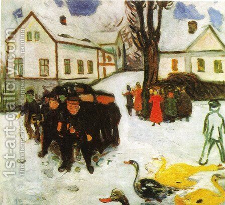 The Village Street by Edvard Munch - Reproduction Oil Painting