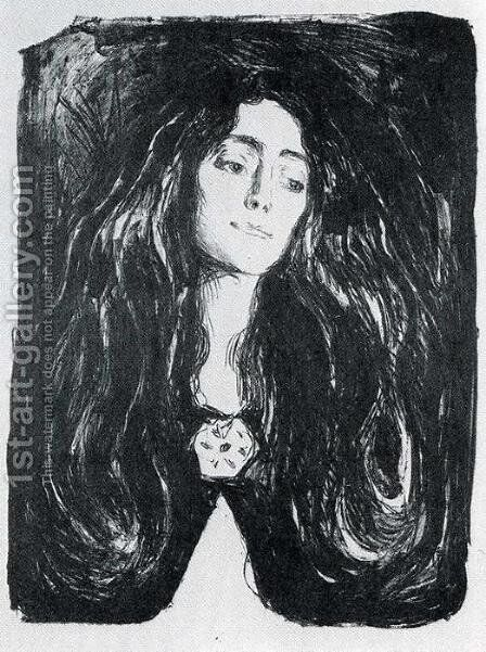 The Brooch. Eva Mudocci by Edvard Munch - Reproduction Oil Painting
